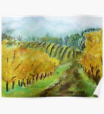 Oregon Vineyard Acrylic Painting Poster
