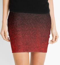 Red & Black Glitter Gradient Mini Skirt
