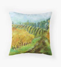 Oregon Vineyard Acrylic Painting Throw Pillow