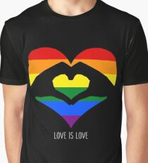 Love Is Love LGBT Rainbow Heart  Graphic T-Shirt