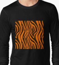 Orange Zebra Animal Print Pattern Long Sleeve T-Shirt