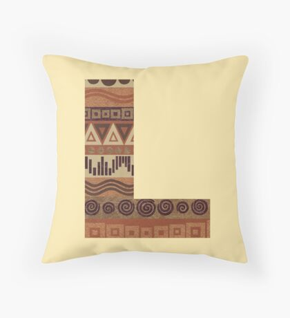 Letter L Leather Look Pattern Tribal Ethnic Monogram Initial Throw Pillow