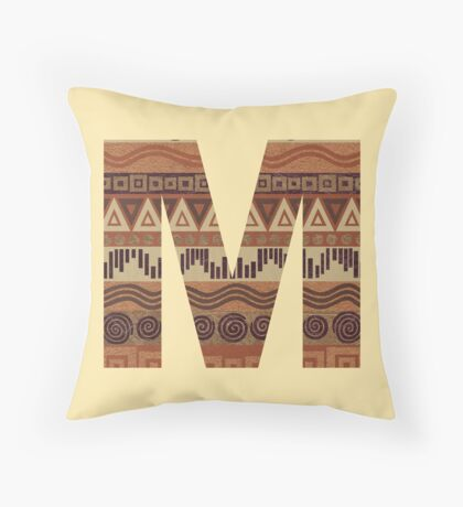 Letter M Leather Look Pattern Tribal Ethnic Monogram Initial Throw Pillow