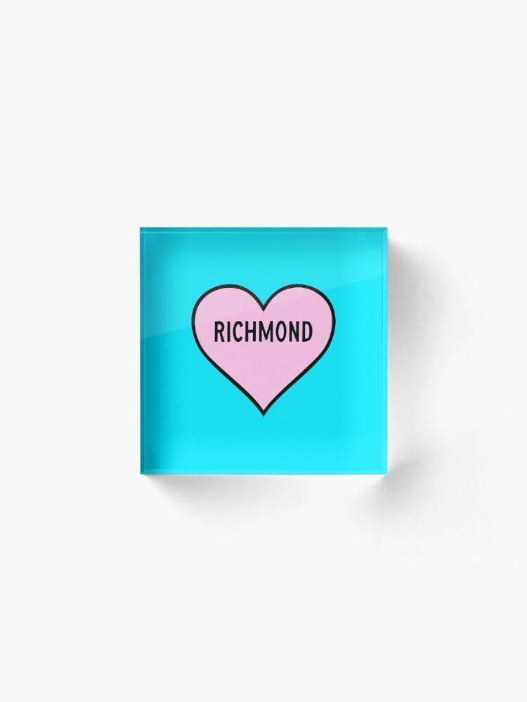 Alternate view of I Love Richmond Cute Light Pink Heart Shape Richmond City Lover Valentine Gift Acrylic Block