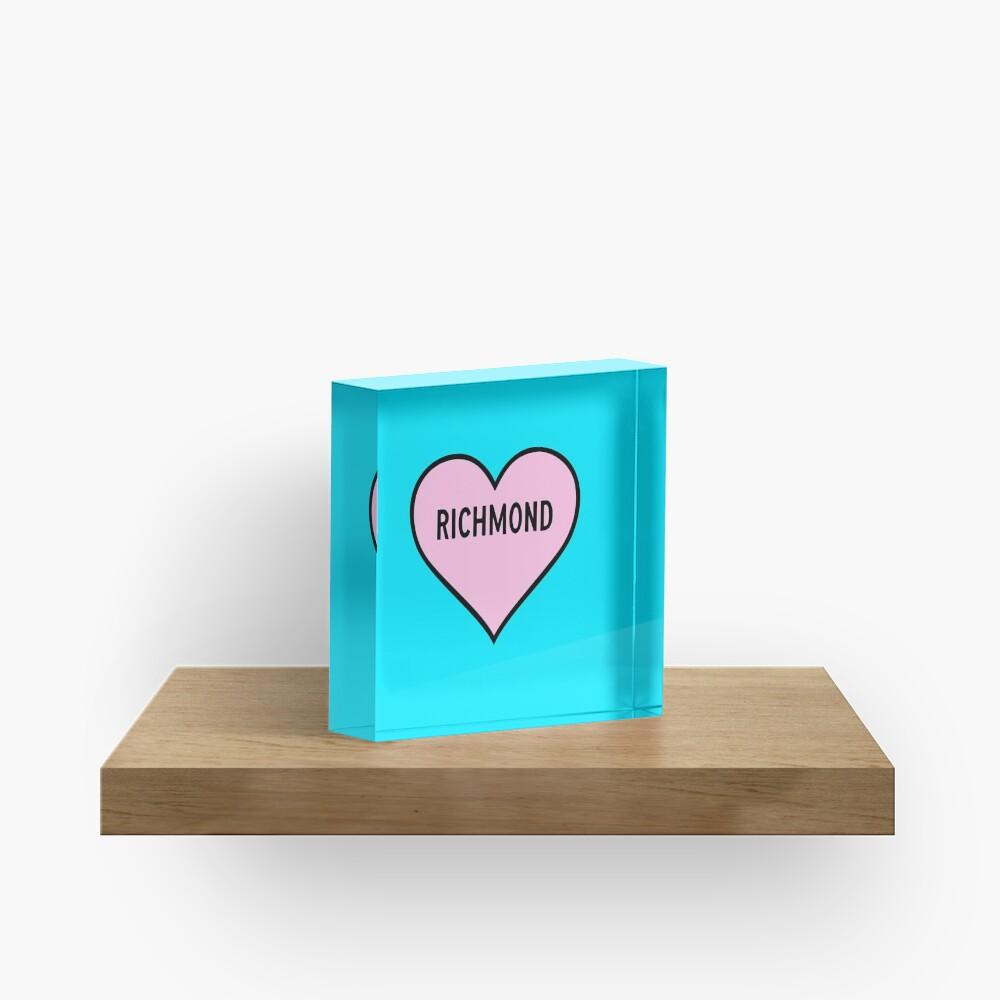 I Love Richmond Cute Light Pink Heart Shape Richmond City Lover Valentine Gift Acrylic Block