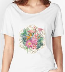Tropical floral, flamingos and gold strokes pattern Women's Relaxed Fit T-Shirt