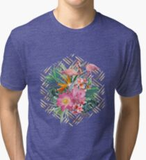 Tropical floral, flamingos and gold strokes pattern Tri-blend T-Shirt