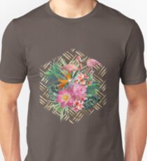 Tropical floral, flamingos and gold strokes pattern T-Shirt