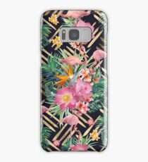 Tropical floral, flamingos and gold strokes pattern Samsung Galaxy Case/Skin