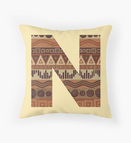 Letter N Leather Look Pattern Tribal Ethnic Monogram Initial Throw Pillow