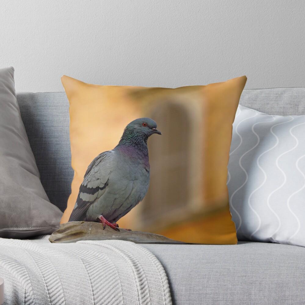 Posing Pigeon Throw Pillow