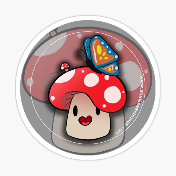 Happy Mushroom and Butterfly Friend Sticker