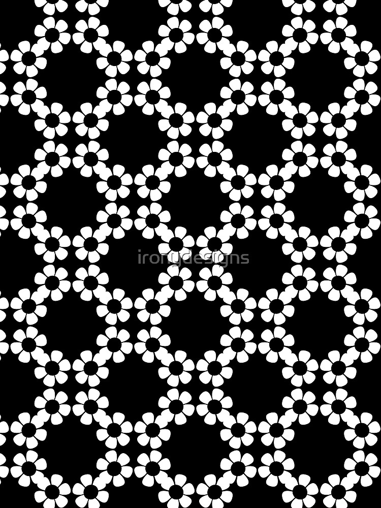Black and White Flower Pattern by ironydesigns