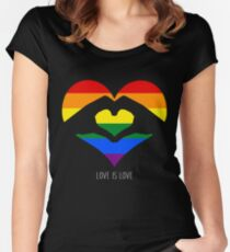 Love Is Love LGBT Rainbow Heart  Women's Fitted Scoop T-Shirt