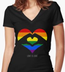 Love Is Love LGBT Rainbow Heart  Women's Fitted V-Neck T-Shirt