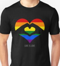 Love Is Love LGBT Rainbow Heart  Slim Fit T-Shirt