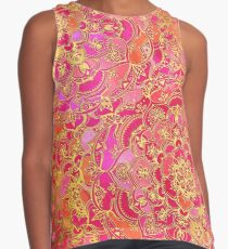 Hot Pink and Gold Baroque Floral Pattern Contrast Tank