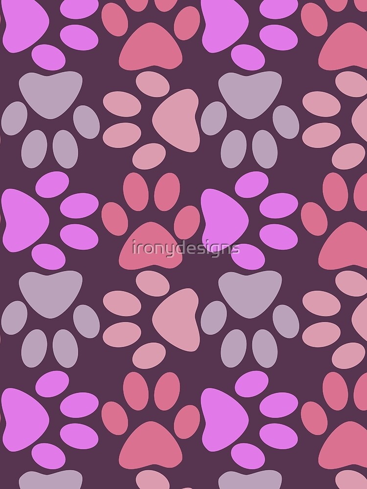 Paw Print Pattern in Purples by ironydesigns