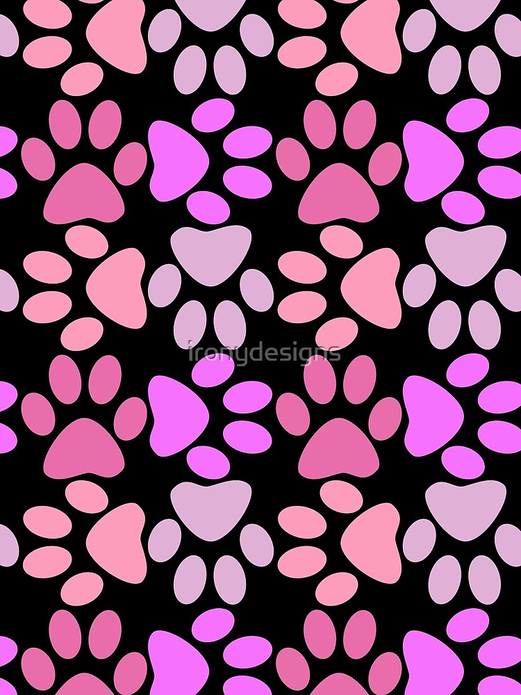 Paw Print Pattern in Black and Pinks by ironydesigns
