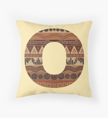 Letter O Leather Look Pattern Tribal Ethnic Monogram Initial Throw Pillow
