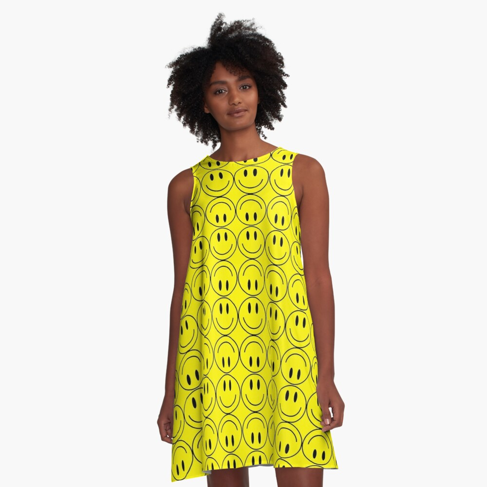 Smiley Faces Pattern A-Line Dress Front