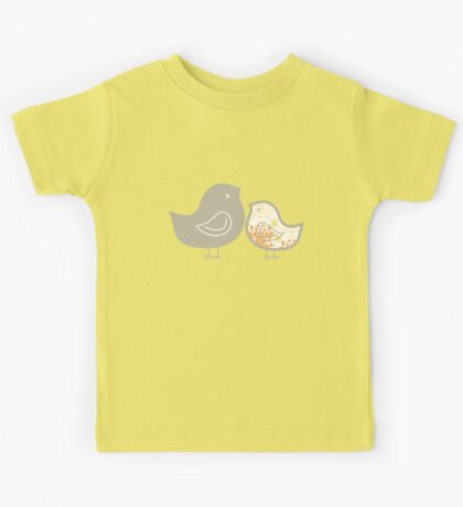 Sweet Yellow Damask Mommy and Baby Chicks Kids Clothes