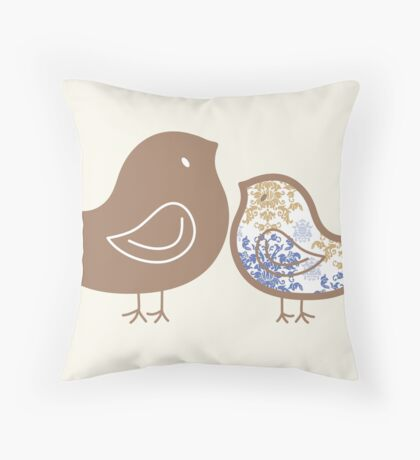 Sweet Blue Damask Mommy and Baby Chicks Throw Pillow