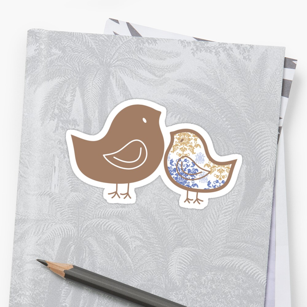 Sweet Blue Damask Mommy and Baby Chicks by fatfatin