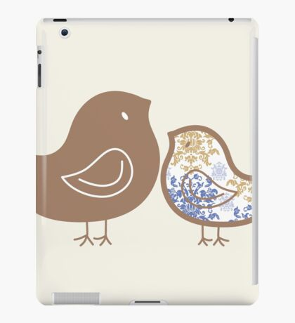 Sweet Blue Damask Mommy and Baby Chicks iPad Case/Skin