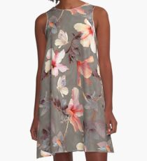 Coral Hibiscus A-Line Dress