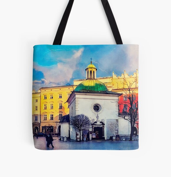 Cracow Church of St. Wojciech All Over Print Tote Bag