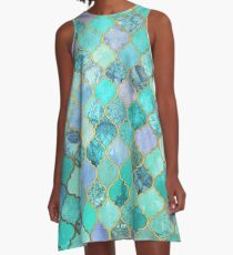 Cool Jade & Icy Mint Decorative Moroccan Tile Pattern A-Line Dress