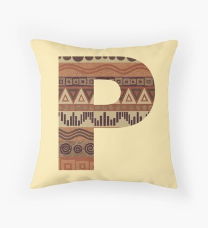 Letter P Leather Look Pattern Tribal Ethnic Monogram Initial Throw Pillow