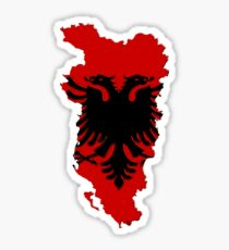 Albania Map With Albanian Flag Sticker