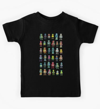 Robot Line-up on Black - fun pattern by Cecca Designs Kids Clothes