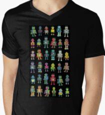 Robot Line-up on Black Mens V-Neck T-Shirt