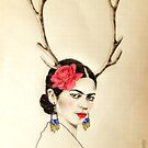 Frida Kahlo with deer antlers  by Elisabete Nascimento