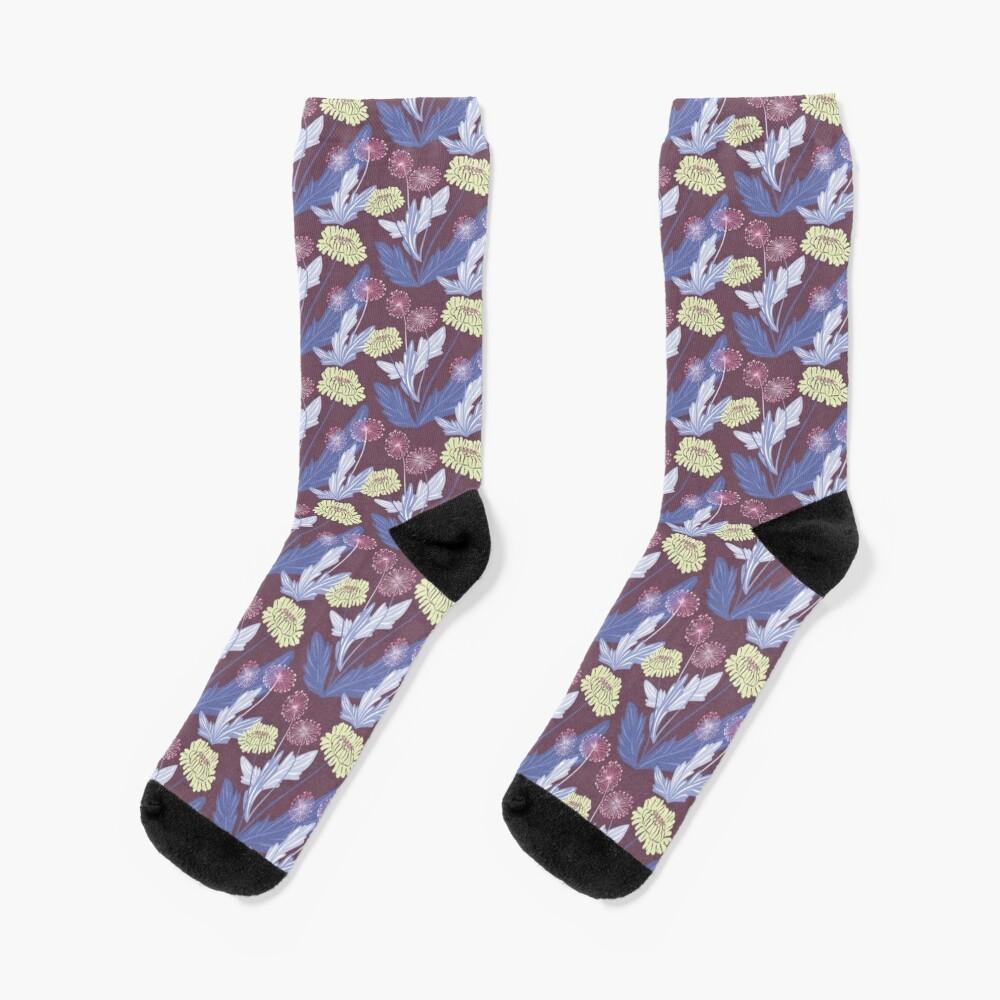 Purple dandelions Socks