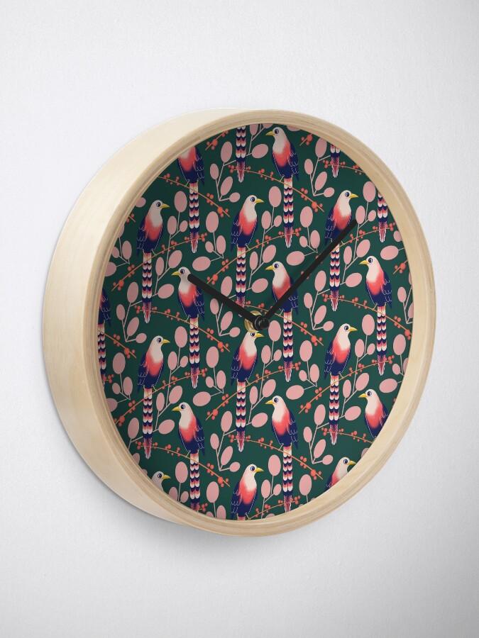 Alternate view of Like a bird on the branch (dark green) Clock