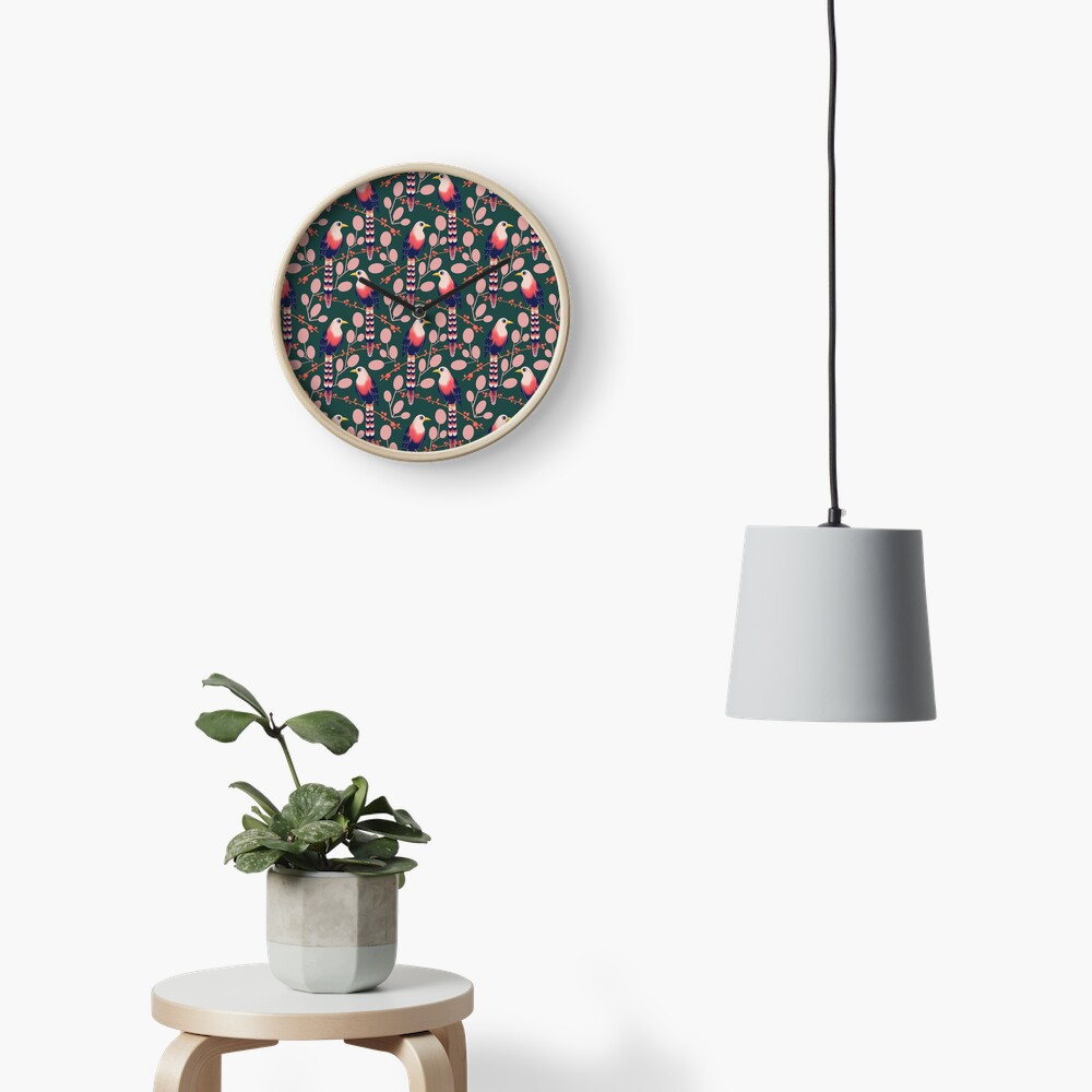 Like a bird on the branch (dark green) Clock