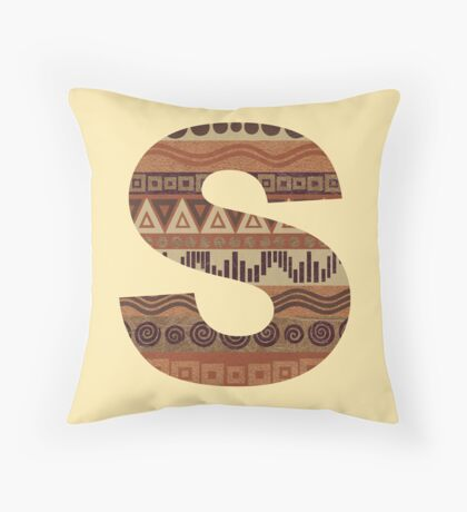 Letter S Leather Look Pattern Tribal Ethnic Monogram Initial Throw Pillow