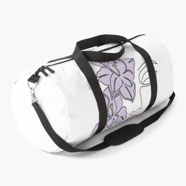 One Line Art Flowers and woman Duffle Bag