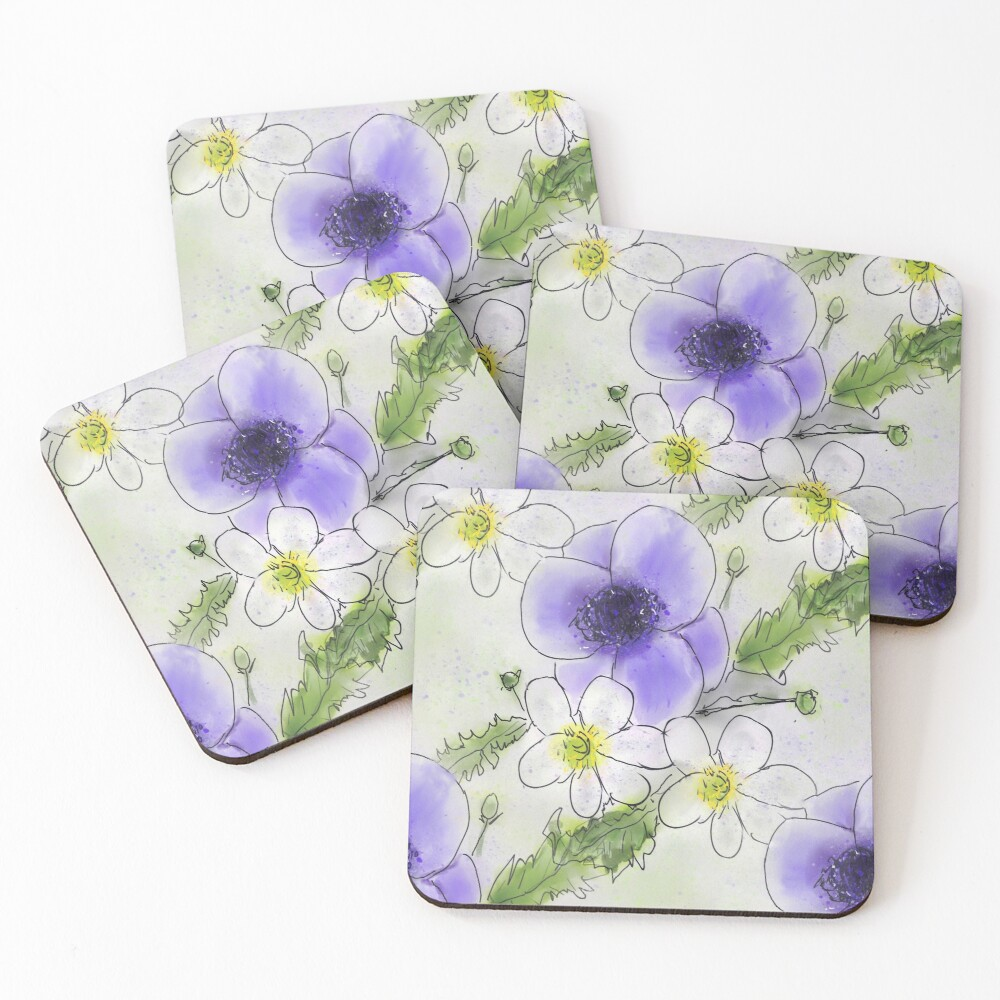 Whimsical Purple and White Anemones Coasters (Set of 4)