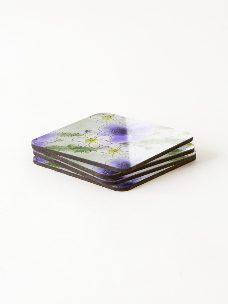 Alternate view of Whimsical Purple and White Anemones Coasters (Set of 4)