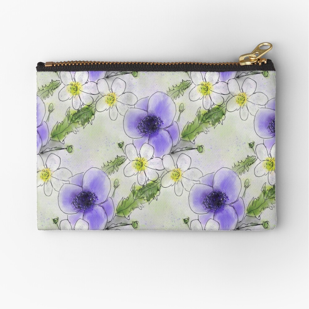 Whimsical Purple and White Anemones Zipper Pouch