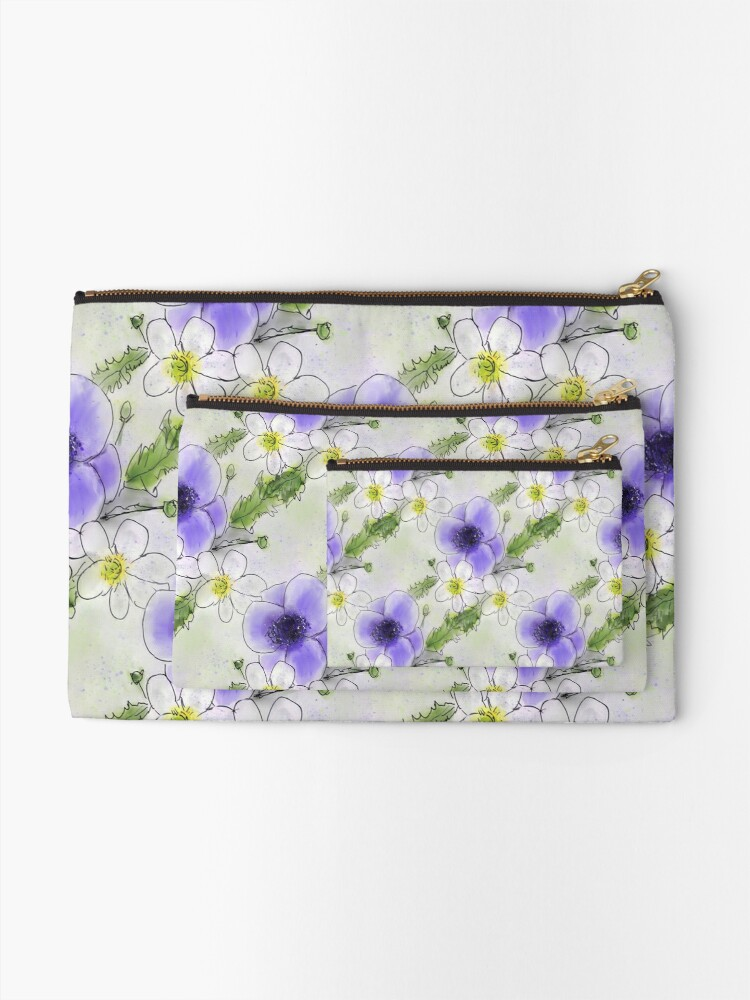 Alternate view of Whimsical Purple and White Anemones Zipper Pouch