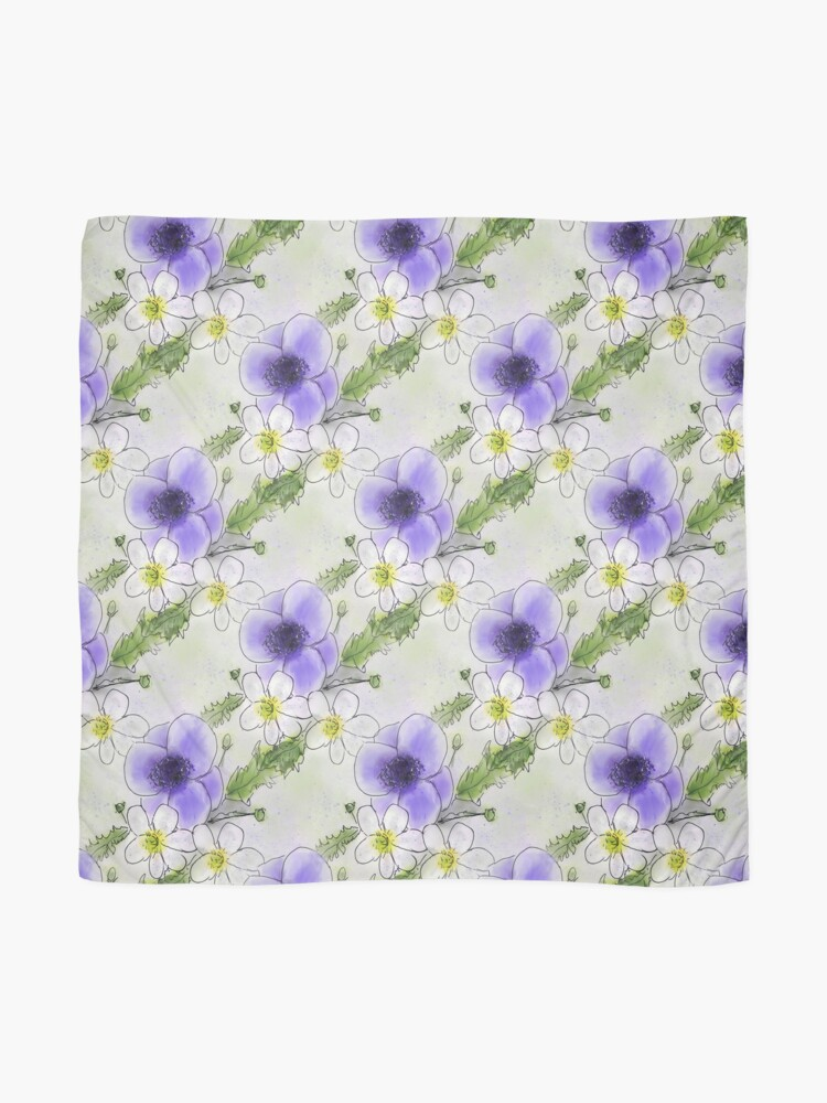 Alternate view of Whimsical Purple and White Anemones Scarf