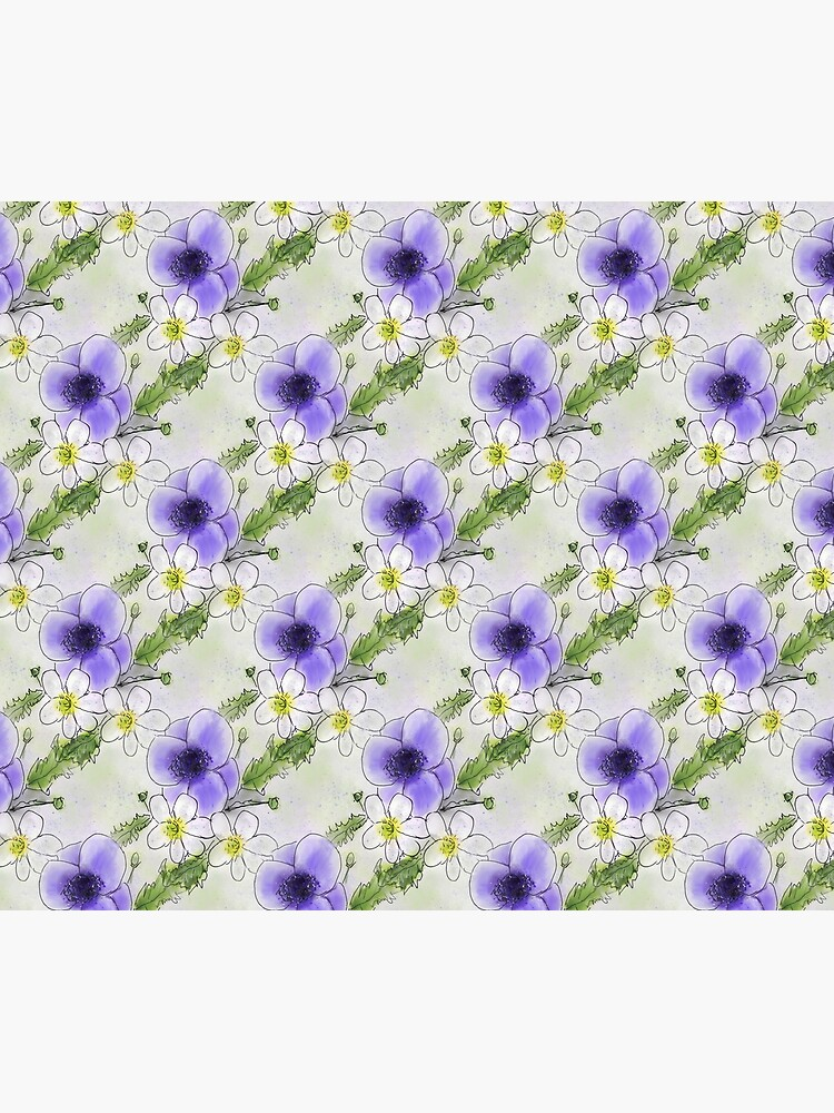 Whimsical Purple and White Anemones by ClareWalkerArt