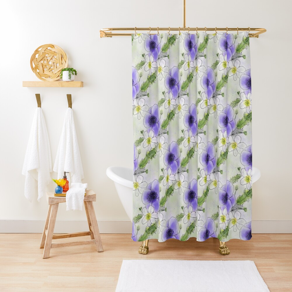 Whimsical Purple and White Anemones Shower Curtain