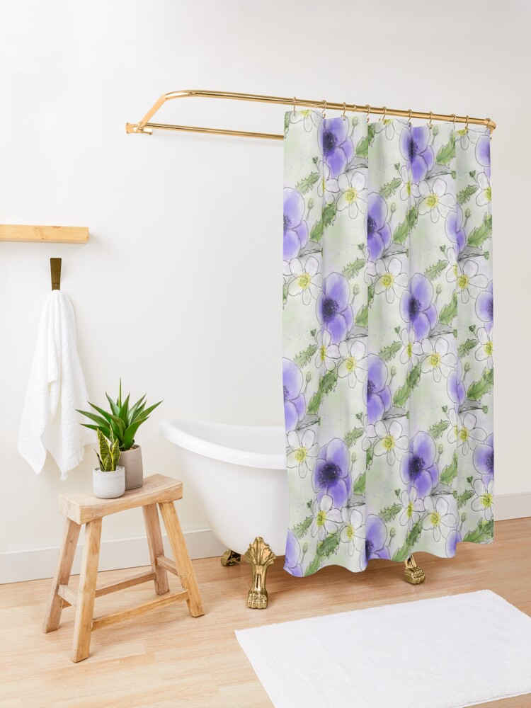 Alternate view of Whimsical Purple and White Anemones Shower Curtain
